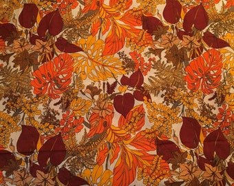 Vintage Fabric, Heavyweight Linen Upholstry Fabric, 1960's or 1970's Material, 1.13 yards