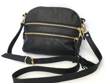 AW13 Leather bag in black - converts to clutch