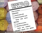 "Care Instruction Printable PDF Cards for Crocheters - ""Crocheted with Love"" Labels or Tags for DIY Handmade Crochet Crafts"