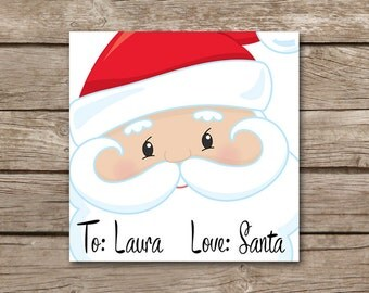 PERSONALIZED Christmas Tags, Santa Tags, Love Santa Tags, Christmas Gift tags, Holiday Gift Tags, Printable Santa Tags, Stickers
