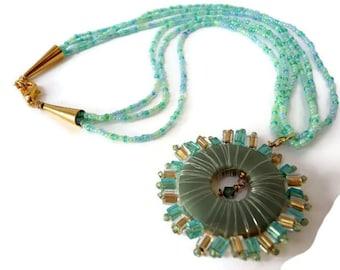 Pendant Crystal Blue, Pendant Gold Blue, Seed Bead Necklace, Bead Turquoise Gold, Pendant Boho Blue, Starburst Necklace, Jasper Pendant