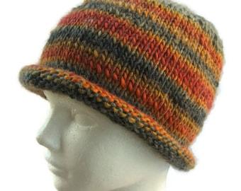 Men's Gray Beanie - Men's Striped Beanie - Gray Orange Beanie - Roll Edge Hat - Roll Brim Beanie - Unisex Beanie - Gray Wool Beanie