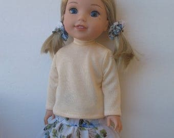 """Wellie Wishers American girl 14.5"""" Doll Clothes Top,Skirt,Hair band"""