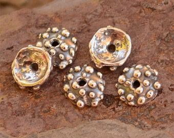 2 Best Tiny Dotted Bead Caps Ever, Sterling Silver Small Bead Caps, AD-649