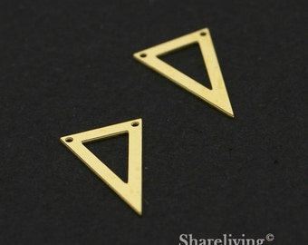 Exclusive - 10pcs Raw Brass Geometry Triangle Charm / Pendant,  Fit For Necklace, Earring, Brooch  - TG333