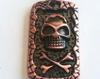 Skull and Crossbones Pendant, Skull Antique Copper Medallion Pendant, Pirate Old Style Supply, 1