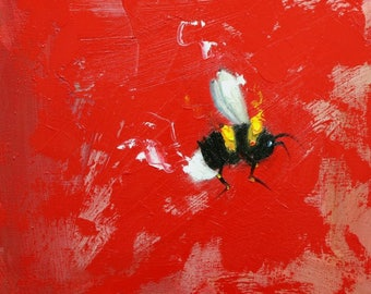 Bee painting 394 12x12 inch insect animal portrait original oil painting by Roz