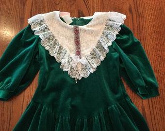 Green Velvet Dress Girls 7/8