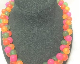 Acrylic Gumdrop Cluster Necklace #371