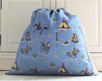 Large Toy Bag, Laundry Bag in Cotton Cowboy Wild West Themed Fabric with Drawstring