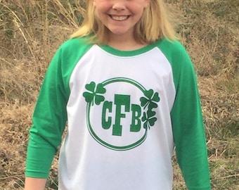St. Patrick's Day Shirt Monogrammed St. Patrick's Day Girls shirt St. Patrick's Ragland Shirt