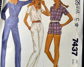 McCall's 7437 Misses' Jumpsuit Vintage 80's Sewing Pattern  Size 14 Bust 36 inches Complete Uncut FF