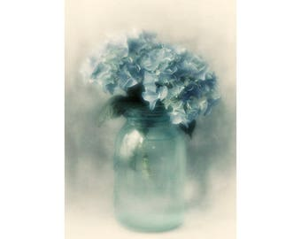 Flower Still Life Photography, Hydrangea Art Print, Floral Decor, Dark Blue Wall Art, Romantic Bedroom Decor