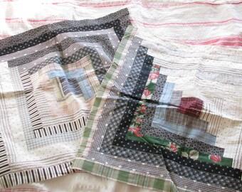 Rural Life...Vintage Log Cabin Patchwork Calico Quilt Blocks