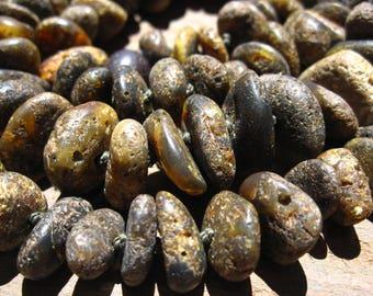 Baltic Amber beads Dark Rough Organic rondelles - 12 inches genuine