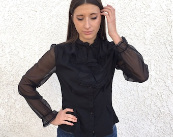 Vintage 70s 80s sheer victorian blouse
