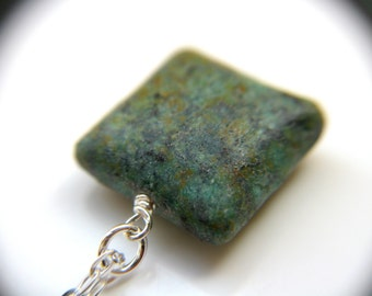 Square Pendant Necklace . African Turquoise Necklace . Raw Turquoise Necklace . December Birthstone Jewelry - Corinth Collection