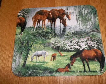 Horse, Mouse Pad, Hoses in the Meadow, Handmade, Gift, Office Decor, Desk Accessory, Rectangle, Mouse Pads, Computer MousePad
