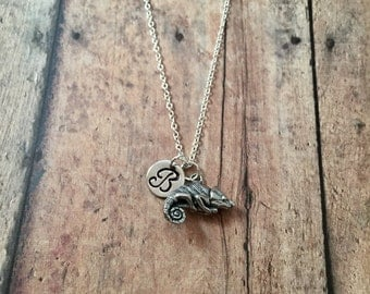 Chameleon initial necklace - lizard necklace, chameleon jewelry, reptile necklace, pet chameleon necklace, silver chameleon necklace