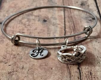Tiara initial bangle- princess crown bracelet, crown jewelry, pageant bracelet, tiara jewelry, princess jewelry, pageant jewelry
