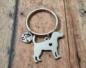 Beagle initial key ring- dog breed key ring, gift for beagle owner, silver beagle keychain, beagle dog key ring, hound dog key chain