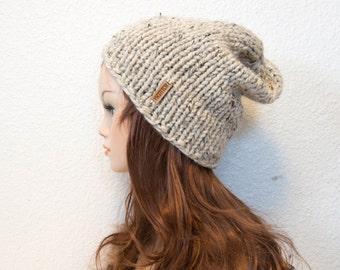 Slouchy Chunky Knit Hat / ASPEN / Oatmeal