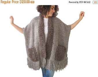 WINTER SALE Beige - Brown Wool Boucle Hand Knitted Fringe Cardigan with Pockets
