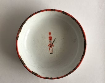Toy Soldier Vintage Enamel Bowl Red Stenciled Enamelware Bowl from Sweden