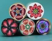 SALE Set of 5 Polymer Clay Mini Flower Canes (44dd)