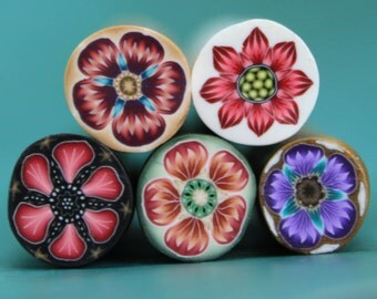 SALE Set of 5 Polymer Clay Mini Flower Canes (44dd)