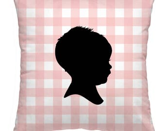 Custom Silhouette Pillow Case / Personalized Silhouette Pillow Case / Silhouette Portrait Pillow Case - Made from your Photos