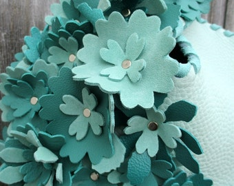Aqua Green Leather Wristlet in with Teal Flowers by Stacy Leigh