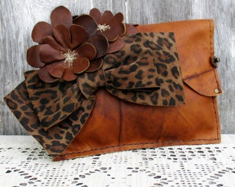 Leather Flower Clutch with Leopard Bow by Stacy Leigh in Marbled Chestnut Brown