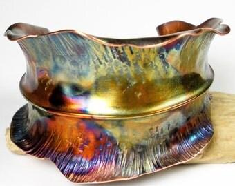 Hammered Copper Leaf Cuff, Womens Copper Cuff Bracelet, Rustic  Copper, Fold Formed, Anticlastic, Fall Leaf, Colorful Heat Patina- Windblown