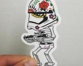 First Order Trooper Calavera Die Cut Vinyl Sticker