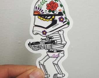 First Order Trooper Calavera Die Cut Vinyl Sticker
