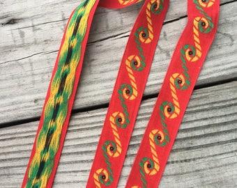 Vintage Embroidered Trim - Multiple Yards Available - Vintage Sewing Supplies / Vintage Sewing / Embroidered Trim / Cotton Trim / Red Trim