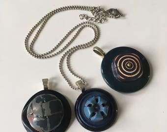 Handmade Button Pendant Trio. Blue & Gray