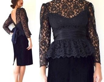 FLASH SALE / 20% off Vintage 80s 90s Black Velvet Lace Bodice Peplum Pencil Dress (size small)