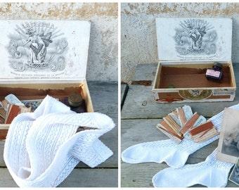 Antique  wooden cigar box + assorted treasures hand knitted socks/ink bottle/ postcards...