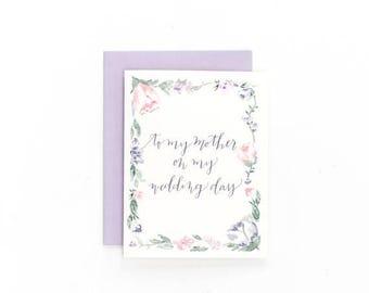 Floral à ma mère sur mon jour de mariage - carte de voeux