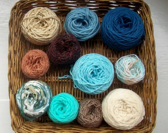 DESTASH- big grab bag assorted yarn 154g /5.4 ounces turquoise blue beige