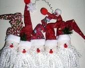 Santa and His Helpers Door Decoration/Wreath Home Decoration/Ornament/Wreath Handcrafted Santa Wreath/Door Hanger by Craftylittlekitten