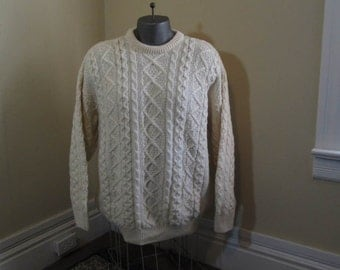 Aran Vintage Irish Sweater Cable knit Chunky Wool Fisherman Sweater Handknit in Ireland Cable cream Pullover L XL
