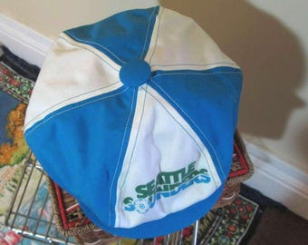 Vintage Seattle Sounders White and Blue Newsboy cap 70s Newsboy Cap vintage Soccer fan hat Adjustable snap back Hat