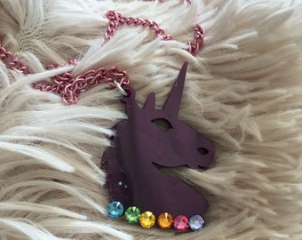 RAINBOW UNICORN swarovski head laser cut acrylic necklace