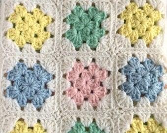 Vintage Crochet Baby Afghan or Lap Afghan - Granny Squares in Beautiful Baby Pastels - Gender Neutral