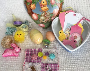 Spring Bunny Treasure Tin Filled with Vintage and New Spring and Easter Themed Crafting Supplies and Embellishments - So fun