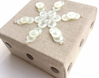 Button Art White Snowflake made with vintage buttons on  canvas