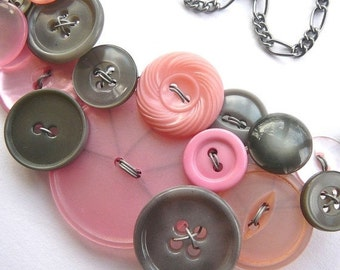 On Sale Big Light Pink and Gray Vintage Button Bib Necklace